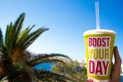 与词的明亮的大塑料玻璃促进您的在蓝天背景和棕榈树,热的夏日,饮料圆滑的人的天 免版税库存图片
