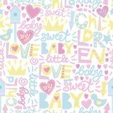 与词的柔和的婴孩样式和题字爱,婴孩,甜 免版税库存照片