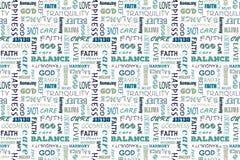 与词的藏青色无缝的样式:爱,和平,平衡,幸福,信念,上帝,信仰,关心,善良,宁静 库存例证
