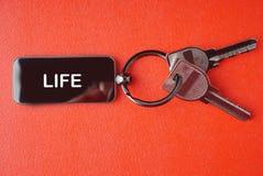与词的钥匙在红色背景, 免版税库存照片