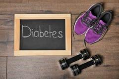 与词糖尿病的平的位置构成 免版税库存照片