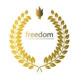 与词自由的金在白色的花圈和灯号 免版税库存图片