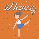 与词舞蹈的手拉的字法与小女孩跳舞 导航方形的例证,五颜六色,亲切,逗人喜爱,与愉快的孩子f 免版税库存照片