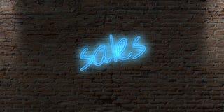 与词销售的霓虹信件标志在砖黑暗墙壁上 免版税库存图片