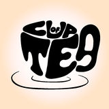 与词组'茶的手拉的黑杯子字法' 库存图片