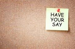 与词组的稠粘的笔记有您的发言权 夏令时 库存照片
