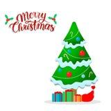 与诗歌选的美丽的圣诞树 雪礼物和糖果 字法 免版税库存照片
