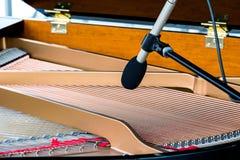与话筒的大平台钢琴串 乐器特写镜头 免版税库存图片