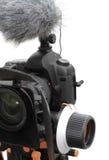 与话筒的照片照相机和跟随焦点 免版税图库摄影