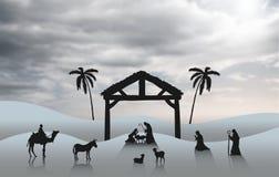 与诞生场面的圣诞节传染媒介 免版税库存图片