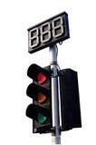 与读秒的红绿灯在空白背景 免版税库存照片