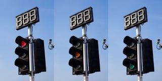 与读秒的红绿灯 库存图片