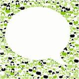 与谈话讲话框架的绿色人背景 库存图片