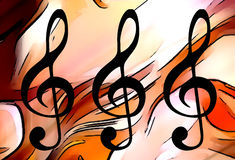 与谱号,现代设计的抽象音乐题材背景 免版税库存照片