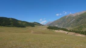 与谷、天狮单山和蓝天,锁着的射击的绿色美好的风景 股票视频