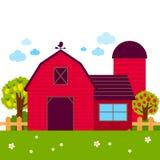 与谷仓和果树园树的风景 免版税库存图片