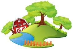 与谷仓的场面在农场 库存例证