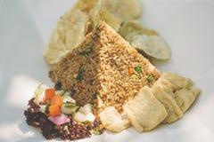 与豆腐的素食米 免版税库存图片
