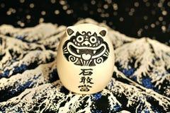 与象形文字的日本石图 免版税库存照片