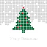 与象素圣诞树的圣诞节背景 免版税库存图片