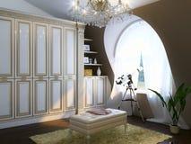 与豪华家具和望远镜的经典室内部 免版税库存照片
