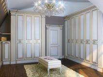与豪华家具和望远镜的经典室内部 库存照片