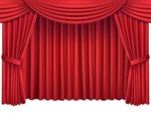 与豪华猩红色红色丝绸帷幕和lambrequin的背景 图库摄影