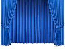 与豪华蓝色丝绸帷幕的背景 库存照片