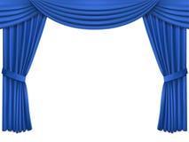 与豪华蓝色丝绸天鹅绒帷幕和lambrequin的背景 免版税图库摄影
