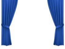与豪华蓝色丝绸天鹅绒帷幕的背景 免版税库存照片