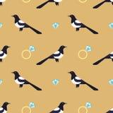 与豪华金黄圆环和鹊的无缝的样式 库存图片