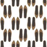与豹子印刷品的时尚鞋子无缝的样式 库存图片