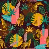 与豹子和抽象热带叶子的Vestor无缝的样式 皇族释放例证
