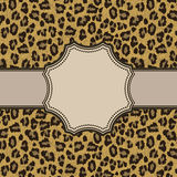 与豹子纹理的葡萄酒框架 免版税库存图片