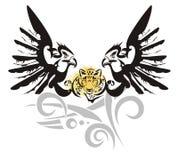 与豹子头的老鹰标志 免版税库存照片