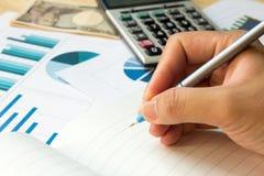 与财政图表,计算器的空白的笔记本 免版税库存图片