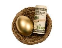 与货币卷的金黄鸡蛋在嵌套的 库存图片