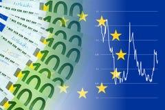 与货币汇率的欧洲钞票 免版税库存图片