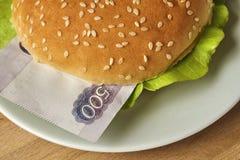与货币的汉堡包 库存图片