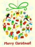 与购物人的圣诞卡 冬天季节性招呼的po 库存照片