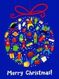 与购物人的圣诞卡 季节性的冬天 免版税库存照片