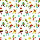 与购物人的圣诞节无缝的样式 免版税库存照片