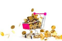 与购物车或超级市场台车iso的落的金币 免版税库存照片