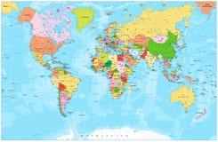 与资本、河和湖的详细的政治世界地图 免版税库存照片
