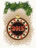 与赌博娱乐场纸牌筹码的愉快的2015新年卡片 免版税库存照片