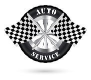 与赛跑旗子的汽车自动服务商标 免版税库存照片