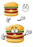 与赞许的动画片愉快的乳酪汉堡 免版税库存照片