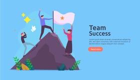 与赢得的旗子的队成功在山顶部 与人字符的配合概念网着陆页模板的, 皇族释放例证