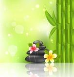 与赤素馨花、竹子和堆的冥想的东方背景 免版税库存图片