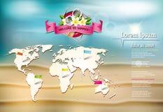 与赤素馨花花,世界地图和lifebuoy的夏天背景 免版税库存照片